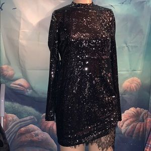 New long sleeve black sequin dress mini small